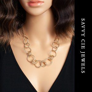 Savvy Cie 14K Gold Plated Circles Necklace